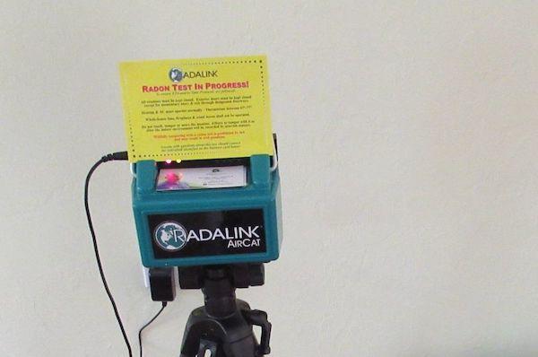 Radon machine conducting a radon gas test